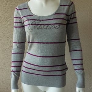 Bling & Metallic Accent Striped Sweater